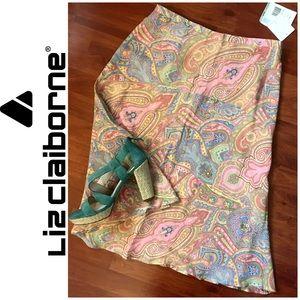 ⬇️ NWT Liz Claiborne Paisley Pastels A-line Dress